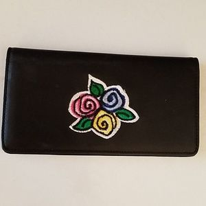New leather embroidered checkbook cover